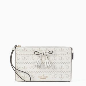 Kate Spade White Hayes Perforated Wristlet